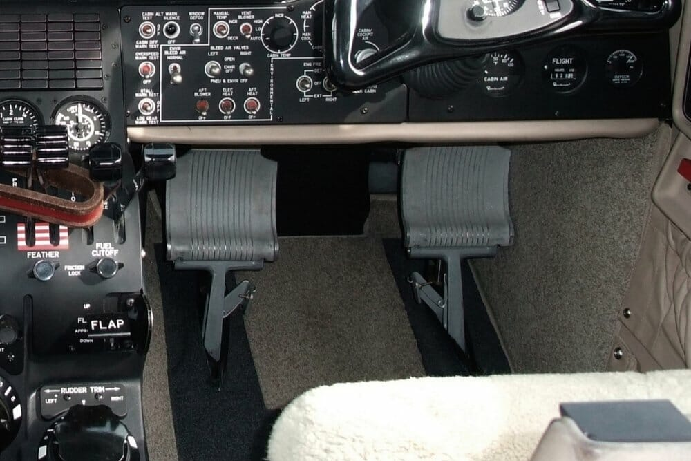 Rudder pedals inside flight simulator