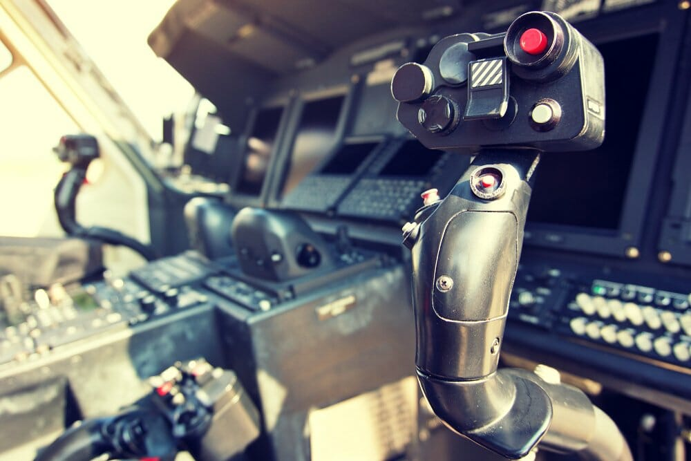 Joystick in helicopter cockpit