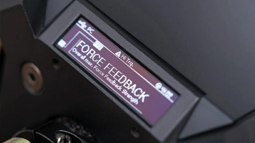 The Fanatec DD1's OLED customization display